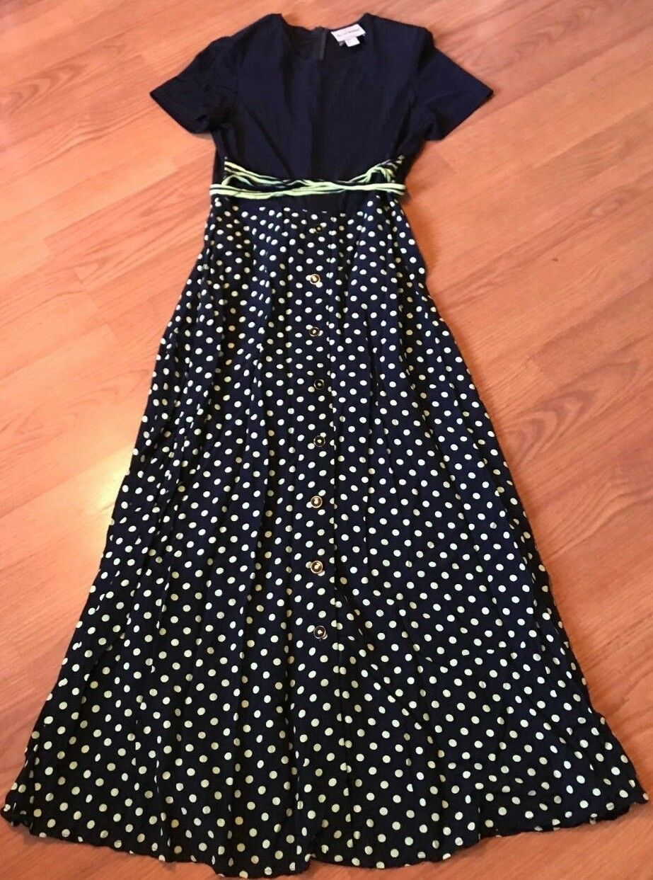 JOSEPH RIBKOFF DRESS ROMPER LONG FULL BELT TEE BUTTON POLKA DOT NAVY blueE SIZE 8