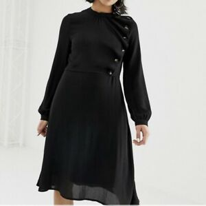 Vero-Moda-Black-Skater-Dress-Button-Up-Chiffon-Long-Sleeves-Knee-Length-Size-M