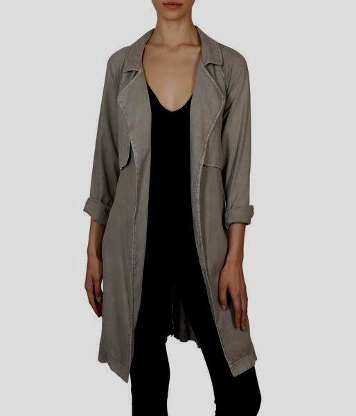 NEW CLOTH & STONE WOMEN SzM DRAPEY TRENCH COAT GREY stone