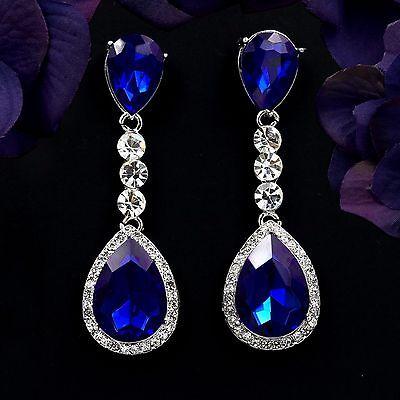 Rhodium Plated Blue Sapphire Crystal Chandelier Drop Dangle Earrings 08357 New