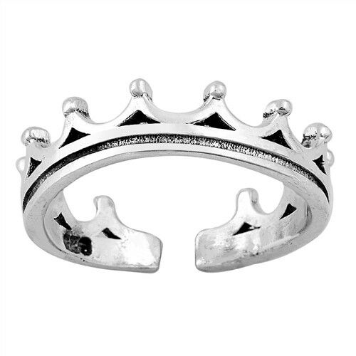 USA Seller Crown Toe Ring Sterling Silver 925 Best Gift Adjustable Jewelry