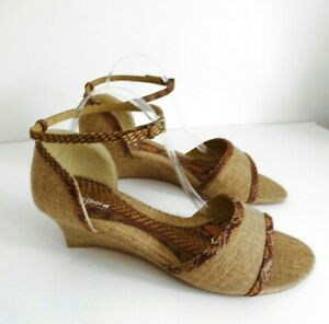 FLEXISOLE-by-EVANS-Size-UK-10-Lovely-Ladies-Brown-Tan-Print-Canvas-Sandals
