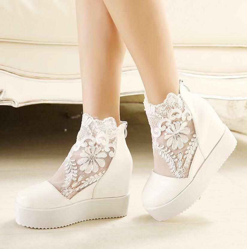 Womens Punk Goth shoes High Platform Wedge Heel Flower Lace Mesh Ankle Boots Hot
