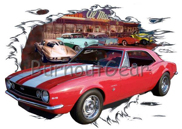 1967 ROT Chevy Camaro b Custom Hot Rod Diner T-Shirt 67 Muscle Car Tees