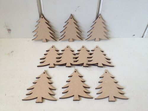 Xmas Wooden MDF Craft Blanks Christmas Gift Tags 9cm 10 x TREES