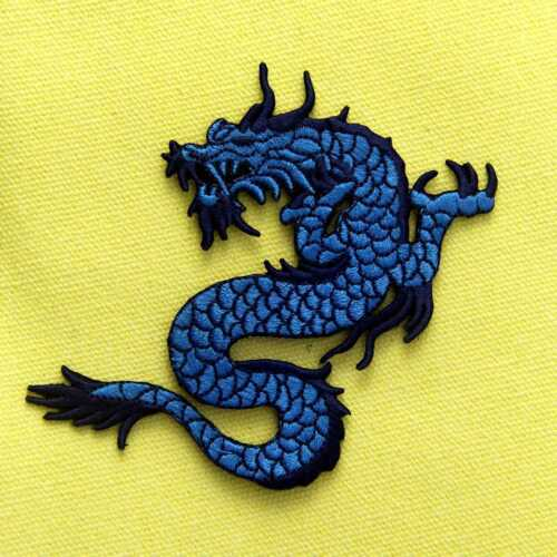 EMBROIDERED Iron On Sew On Patches appliques Badges Biker Back Punk Dragon Blue