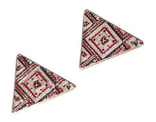 Magnificent -red, white & black cube print pyramid /metal stud earrings(ZX265)