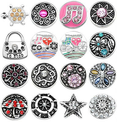 Snap Charm Crystal Button Fit Punk Pop Buckle Leather Bracelet Jewelry DIY Gift