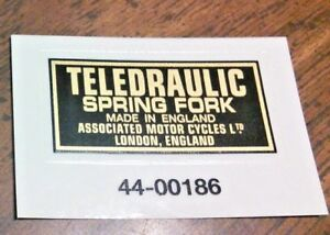 TELEDRAULIC-SPRING-FORK-gold-black-transfer-pair-Matchless-1957-61-AMC-London