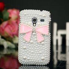 Samsung Galaxy Ace Plus s7500, FUNDA RÍGIDA, FUNDA, MÓVIL, funda protectora, estuche, perlas blanco rosa