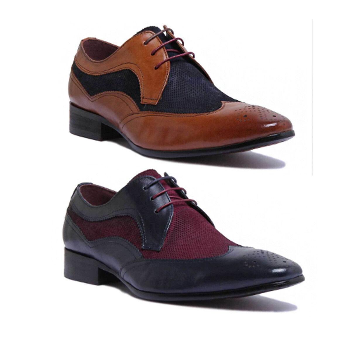 Justin Reece  Herren Two Brogue Tone lace up Smart Brogue Two Real Leder Designer Größe UK 6 85737b