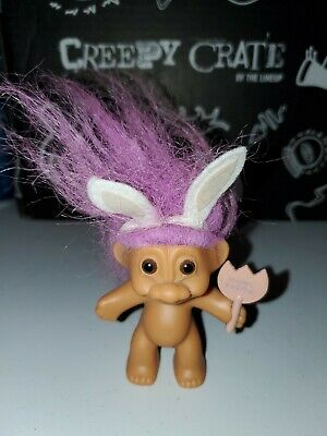 """LAST ONES EASTER CLIP ON BUNNY 3/"""" Russ Troll Doll Rare NEW"""