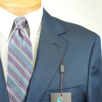 50l Steve Harvey Solid Blue Suit - 50 Long Mens Suits - Sh03