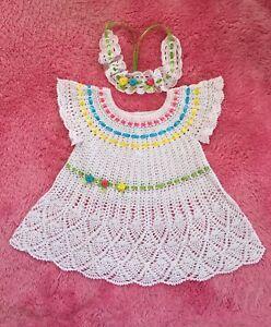 Detalles Acerca De Handmade Crochet Recién Nacido Bebé Niña Traje Vestido Crochet Mostrar Título Original