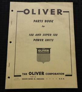 1956 OLIVER SUPER 188 & 188 POWER UNIT STATIONARY ENGINES PARTS CATALOG MANUAL