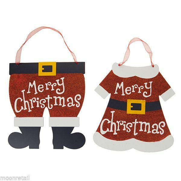 2x Wooden Mr Mrs Santa Claus Merry Christmas Sign Plaque Hanging