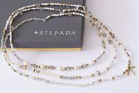 Silpada Stardust Necklace Pearl Crystal Brass Sterling Silver Long N3348
