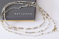 Silpada Stardust Necklace Pearl Crystal Brass Sterling Silver Long N3348