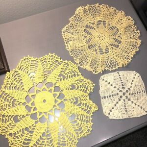 "Vintage Mid Century Yellow Crocheted Doilies Lot of 3 10""-12"" Round 5.5"" Coaster"