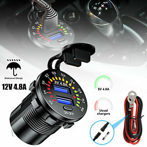 12V-4-8A-Dual-USB-Car-Fast-Charger-Socket-Power-Outlet-LED-Voltmeter-Waterproof