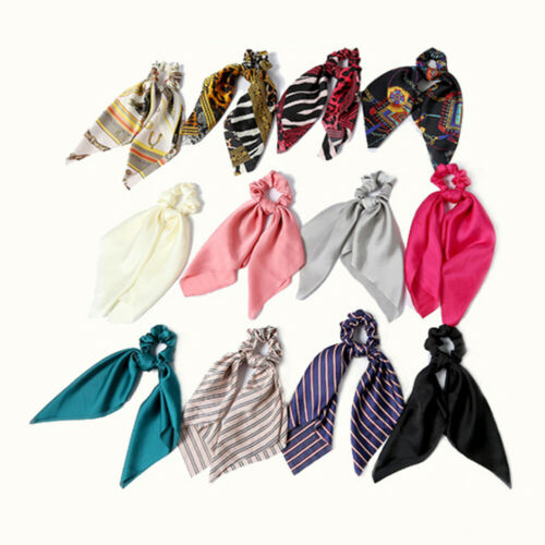 Bohemian Satin Scrunchies With Scarf Hair Bow Hair Scarf Hairtie Ponytail Holder
