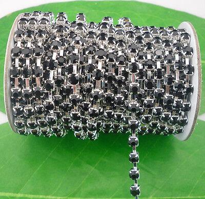 black crystal glass rhinestone close silver chain trims costume Applique 10 Yard