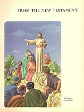"""1956 Vintage BIBLE """"JESUS GIVES SERMON ON THE MOUNT"""" STEELE SAVAGE Lithograph"""