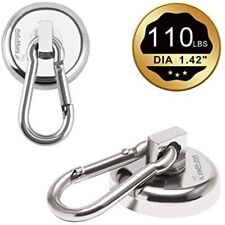 Carabiner Magnetic Hooks 110lbs Heavy Duty Neodymium With Swivel Snap For Bagnet
