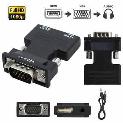 Gut Ausgebildete Hdmi Stecker Auf Zu Vga Buchse Konverter Adapter 1080p Stereo Audio Usb Ausgang