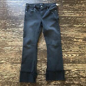 RtA-Womens-Sz-27-Black-Fade-Jean-Frayed-Cuff-Crop-Front-Zip-Button-Straight-Leg