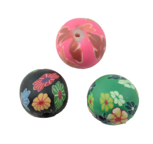 8PCS PATTERN POLYMER CLAY ROUND COLOURED BEADS 59004-189