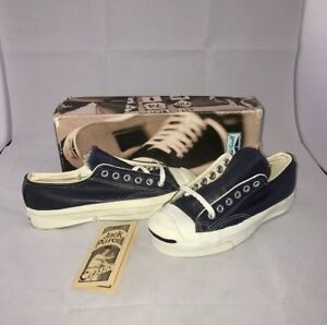 04f766bb74f9cd Vtg Converse Jack Purcell Made In USA Leather Shoes Navy Women Size ...