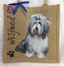 Personalised (Your Dog Beardie Pug Etc) Handpainted Jute Handbag Hand Bag Gift