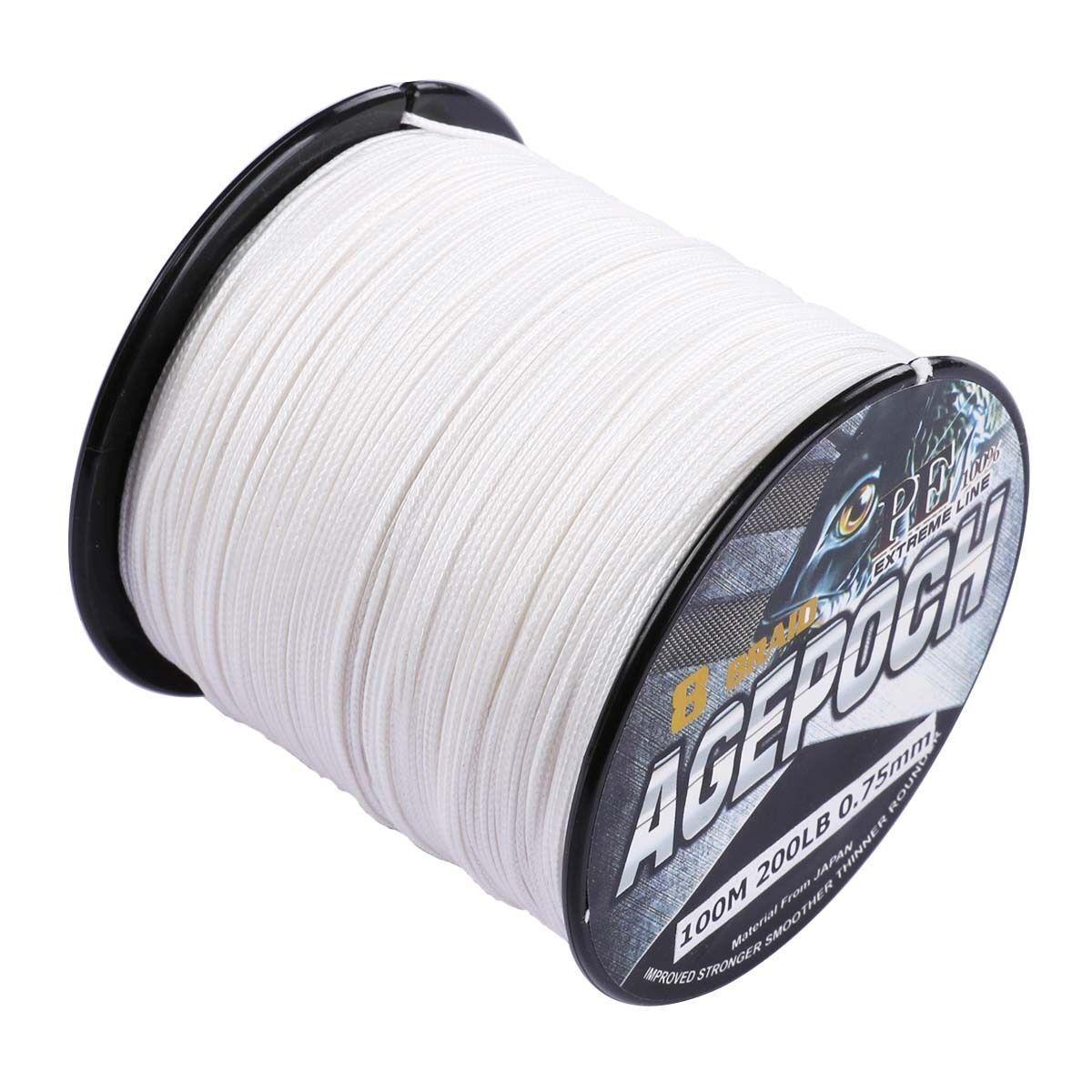 Weiß Super Power Geflochtene Angelschnur 136kg 99.7m2000m 2.7kg- 136kg Angelschnur Agepoch 8386de