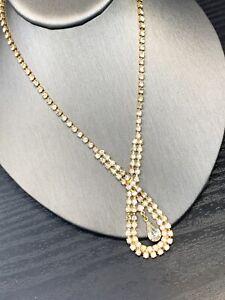 Stunning-1950-s-Gold-Clear-Rhinestones-Vintage-Necklace-Wedding-Flower-Girl-16
