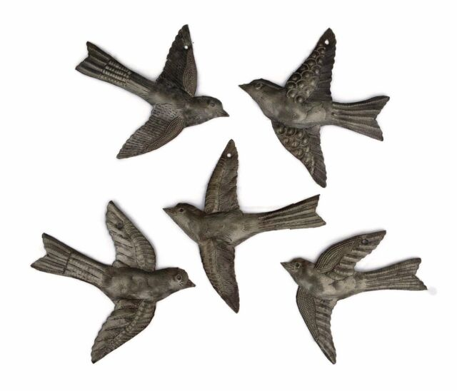set of small birds flying haitian recycled metal drum wall art ebay