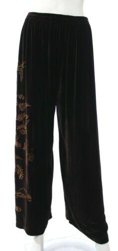 Harari Womens O/S Dark Brown Velvet Pants Wide Loo