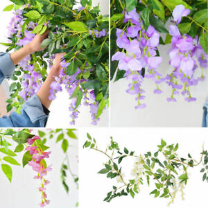 Artificial & Dried Flowers Home & Garden Nice Flower Rattan Party Decorative Artificial Wisteria Vine Trailing Outdoor Garland Foliage Plants Silk Cloth Wall Hanging Home