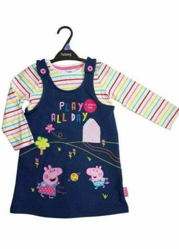 Peppa Pig Baby Girls Denim Blue Pinafore Dress /& Top Outfit Set Age 12 18 24 Mth