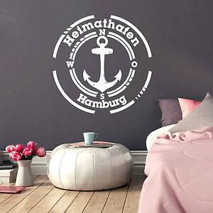 Wandtattoo heimathafen wunschstadt 12220 anker kompass maritim meer zuhause ebay - Wandtattoo maritim ...