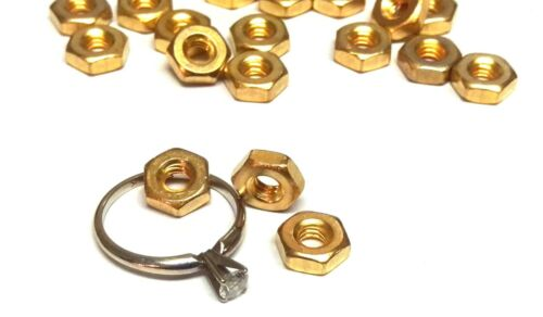 Beads Mini Hexagon Gold Plated Nuts