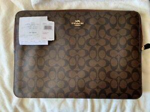 ORIGINAL-COACH-Bag-14-039-039-Laptop-Sleeve-Clutch-Signature-Dark-Brown-Coated-Canvas