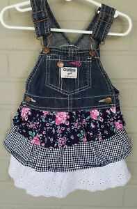 8fdf95efeac Image is loading OshKosh-Dress-Overall-Vestbak-Floral-Tiered-Ruffle-Blue-
