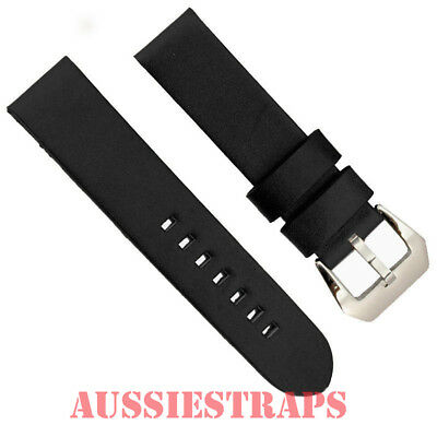 Vintage Distressed BLACK Leather PreV Panerai style Buckle watch band strap NS