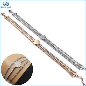 Bracciale da donna tennis con quadrifoglio portafortuna braccialetto in acciaio