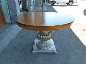 Superb neoclassical dining center table w silver leaf for Cuir center table basse