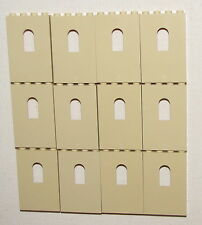 LEGO LOT OF 12 TAN 1 X 4 X 5 DOT PANELS CASTLE WALLS WITH WINDOWS