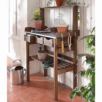 Wooden Potting Table 3 Drawers 3 Hooks Galvanized Metal Worktop Brown