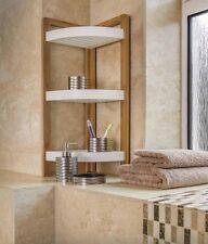 BAMBOO 3 TIER BATHROOM SHOWER CORNER CADDY FREE STANDING UNIT ORGANISER SHELVES