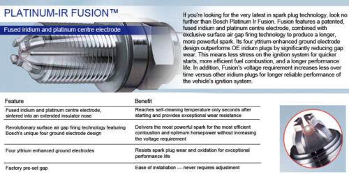 FIAT PUNTO EVO 1.4 16V 09-11 BOSCH PLATINO-IR A GAS GPL-Spark Plug YR6KI332S